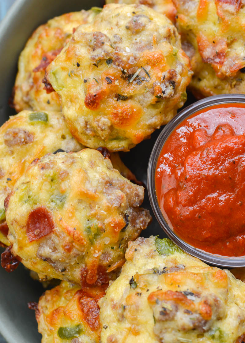 Try these Supreme Pizza Puffs loaded with sausage, pepperoni, bell pepper, onion and cheese! These keto pizza bites are about 1 net carb each making them a great dinner or easy appetizer!