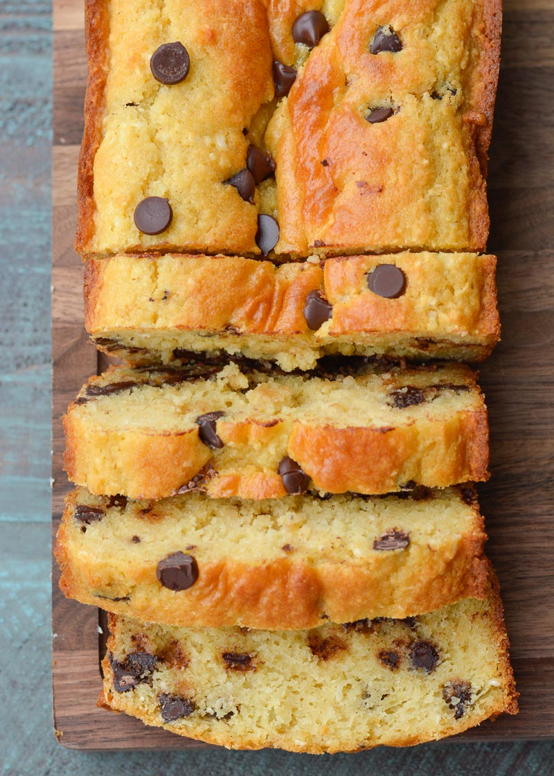 This gluten free Chocolate Chip Cookie Bread is loaded with brown sugar, vanilla and dark chocolate chips. It is an easy quick bread recipe you will love!