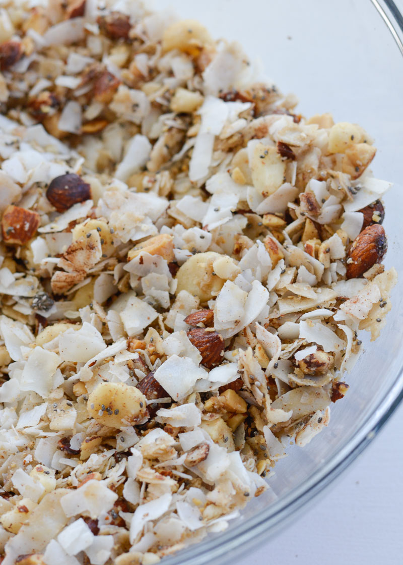Toasted Coconut Granola is the perfect low carb, keto-friendly snack! Packed with coconut flakes, almonds, macadamia nuts, cinnamon and vanilla, this is a treat you will love!