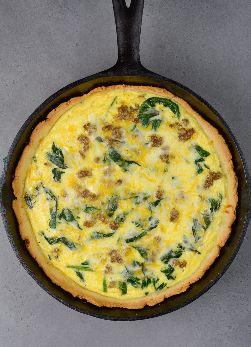 overhead view of a keto quiche in a cast iron skillet