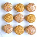 Strawberry Oatmeal Muffins with Strawberry Vanilla Glaze