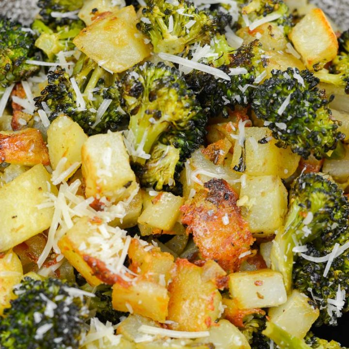 These Lemon Dijon Roast Potatoes and Broccoli are the ultimate one pan side dish. It is impressive enough for guests and easy enough for a hearty weeknight meal!