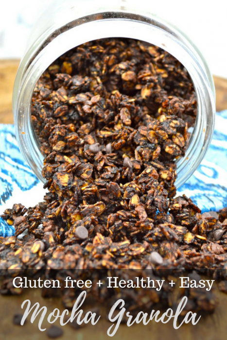 Five ingredient Mocha Granola is an easy, addictive snack you will love! Full of coffee flavor!