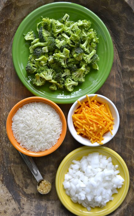 overhead view of ingredients needed for broccoli rice and cheese casserole