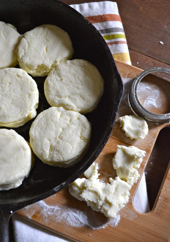 unbaked gluten free buttermilk biscuits in a cast iron skillet
