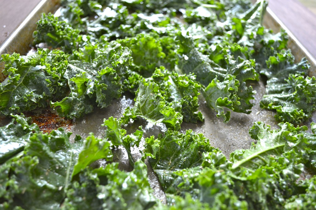 Kale leaves ready to be roasted