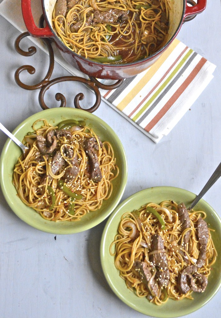 This easy Steak Lo Mein comes together in just 30 minutes! Spicy noodles, steak, and veggies all come together for a hearty dinner the whole family will love!