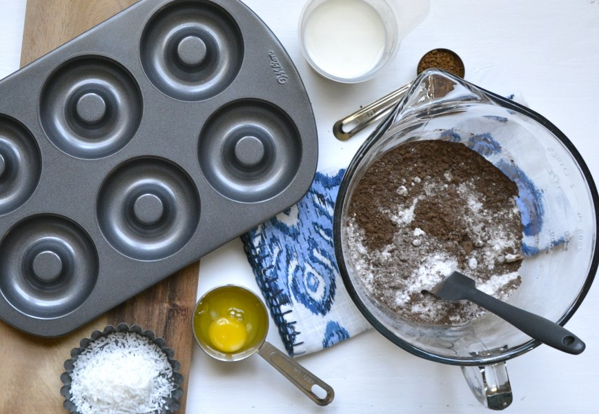 Baked Coconut Mocha Donuts with Dark Chocolate Coconut Glaze