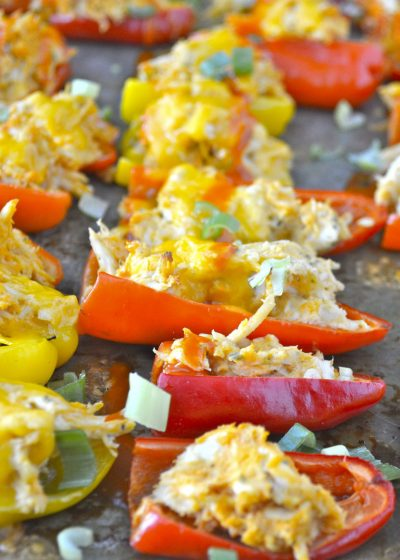 Buffalo Chicken Stuffed Sweet Peppers, an easy, cheap, weeknight meal your whole family will love! This is SO good!