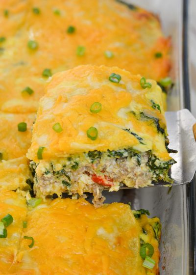 This hearty Overnight Egg Casserole is loaded with sausage, eggs and cheese. Perfect for a holiday brunch or weekend breakfast!