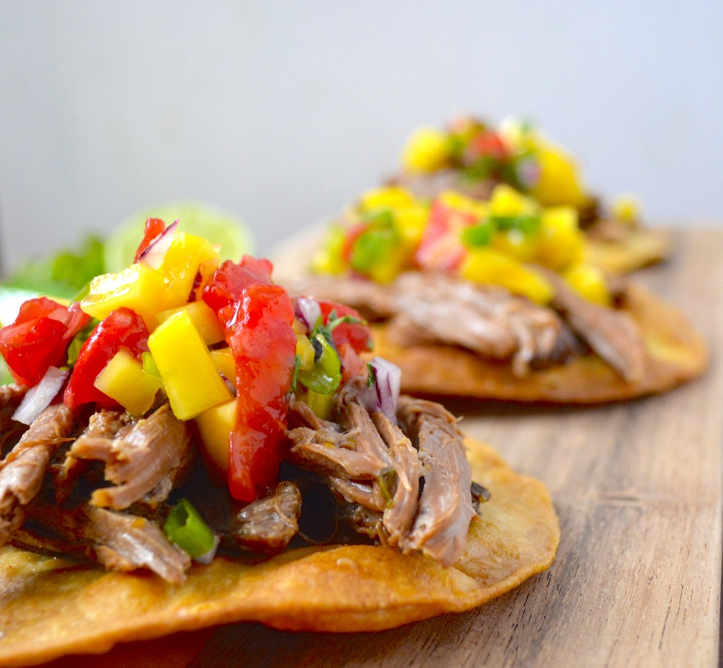 Slow Cooker Habanero Beef Tostadas with Mango Salsa...a super EASY meal your whole family will love! #glutenfree #slowcooker www.maebells.com