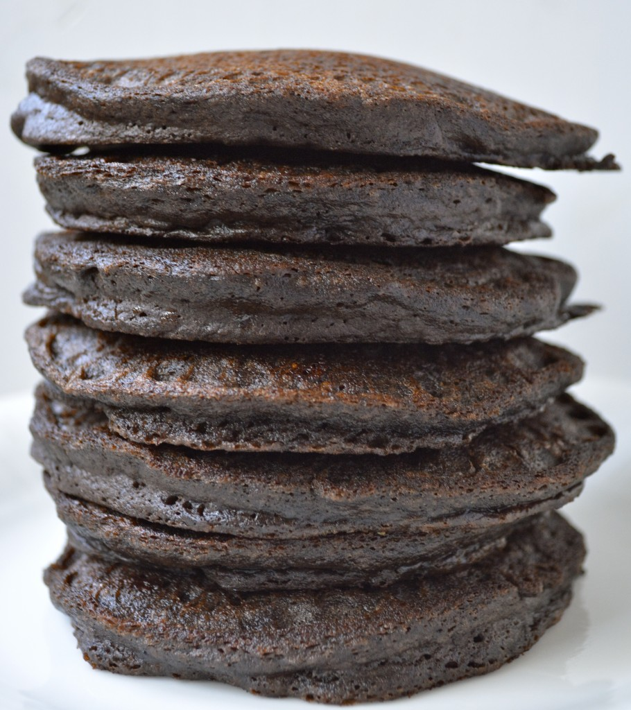 stack of chocolate protein powder pancakes without any toppings