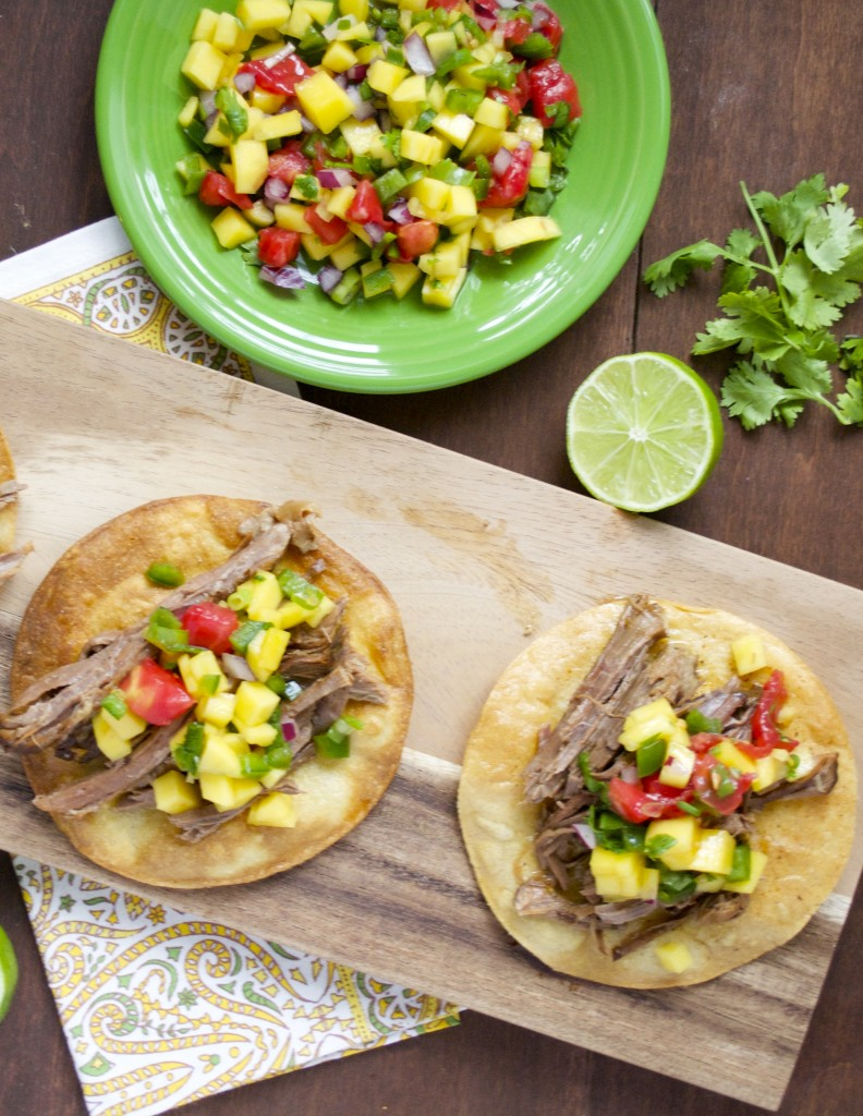 Slow Cooker Shredded Habanero Beef Tostadas with Mango Salsa...so EASY your whole family will love it! #glutenfree #slowcooker www.maebells.com