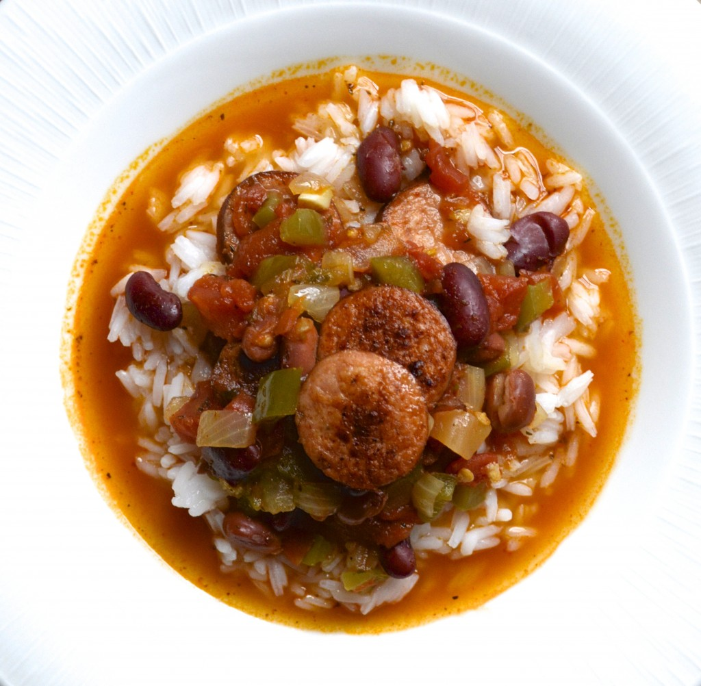 Andouille Sausage and Red Beans Over Rice. Total Comfort food! #glutenfree #easyrecipe www.maebells.com