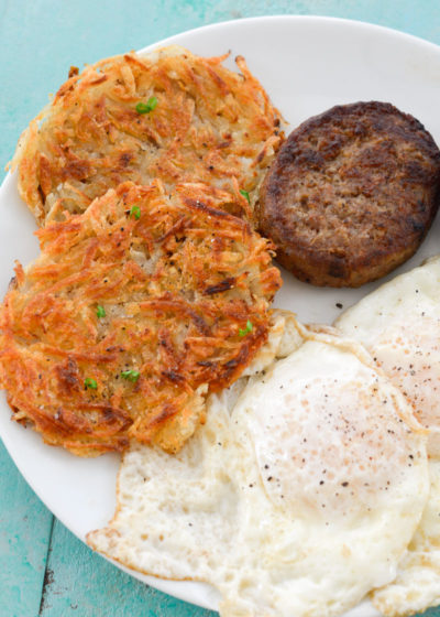 Homemade hash browns are so easy to make and taste way better than what you get at the grocery store! All you need are 4 simple ingredients!