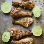 Smoked Drumsticks with Sriracha and Honey Lime Sauce, A SUPER game day snack! Ready in under 30 minutes! #glutenfree