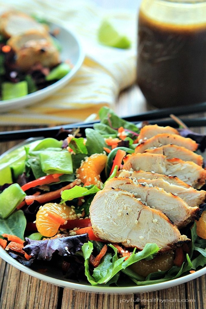 Asian Chicken Salad with Sesame Ginger Dressing from Healthy Joyful Eats