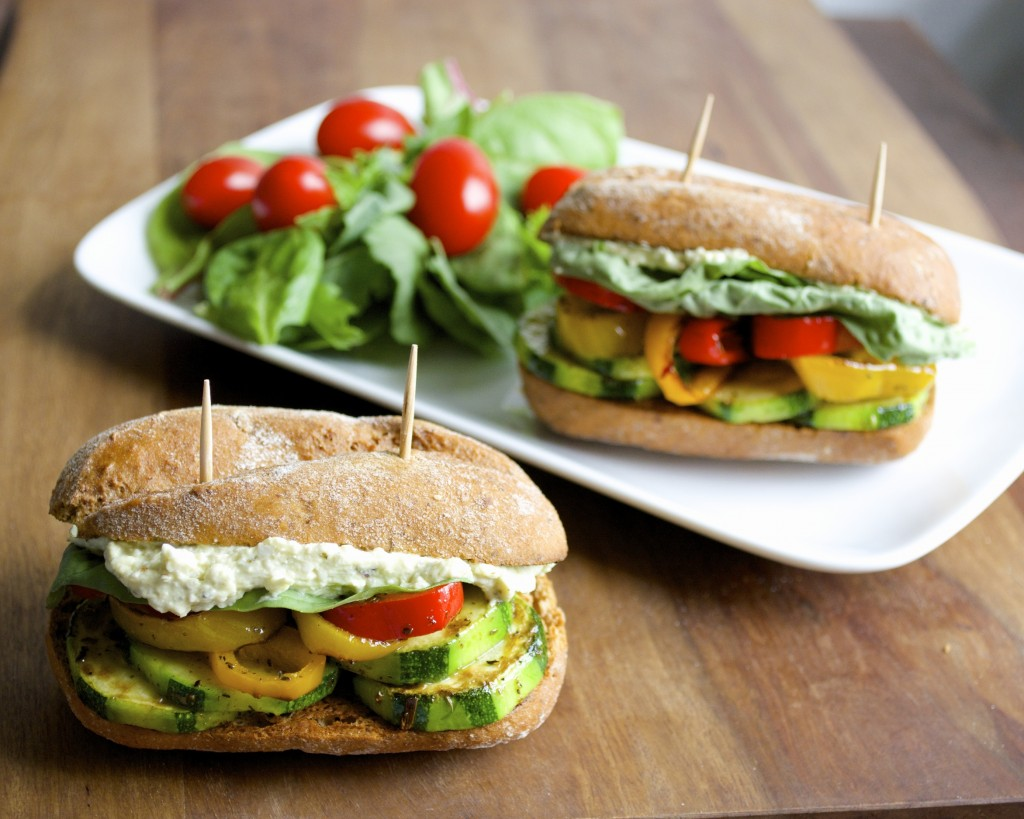 The ultimate veggie slider packed with fresh zucchini, mini sweet peppers, basil leaves and a creamy whipped Pesto and Feta Spread!