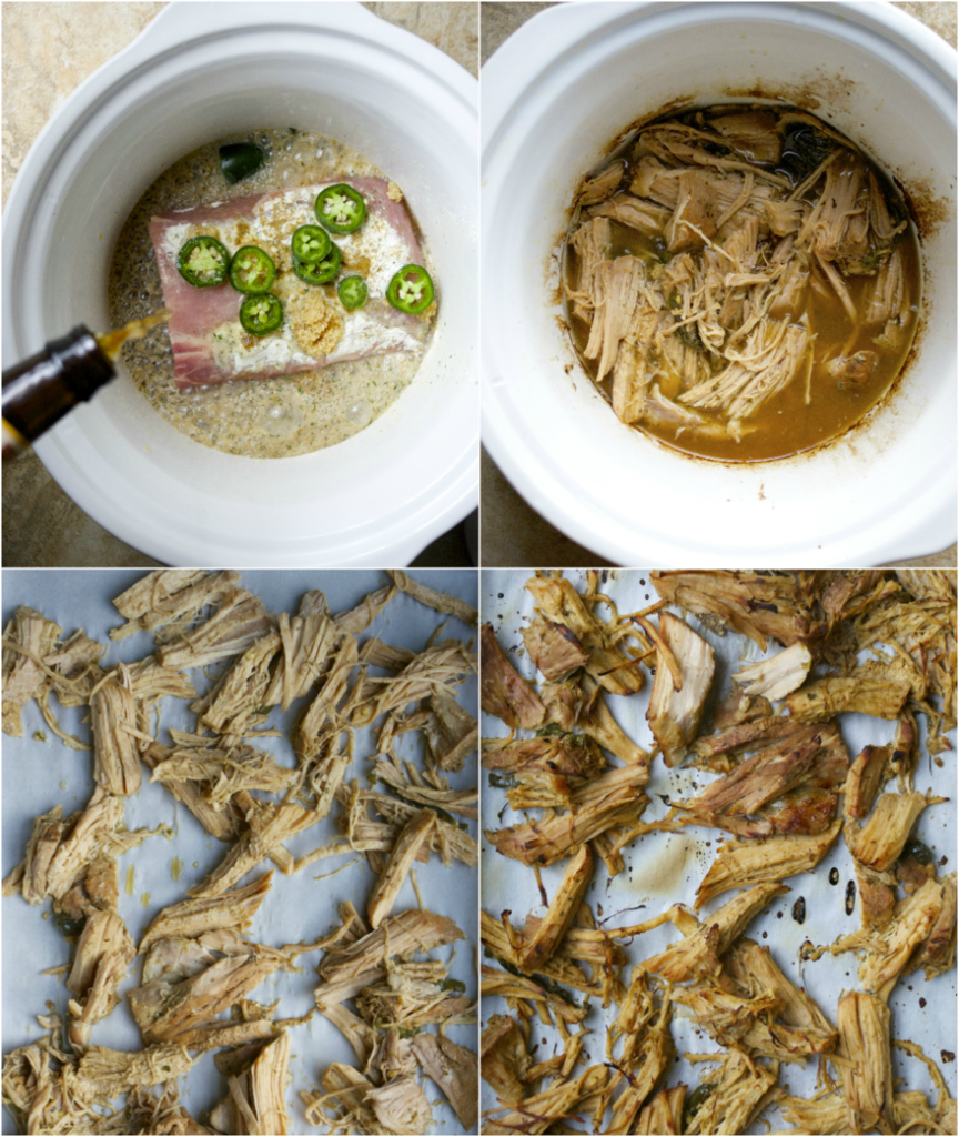 Photo collage showing how to make slow cooker pork carnitas.