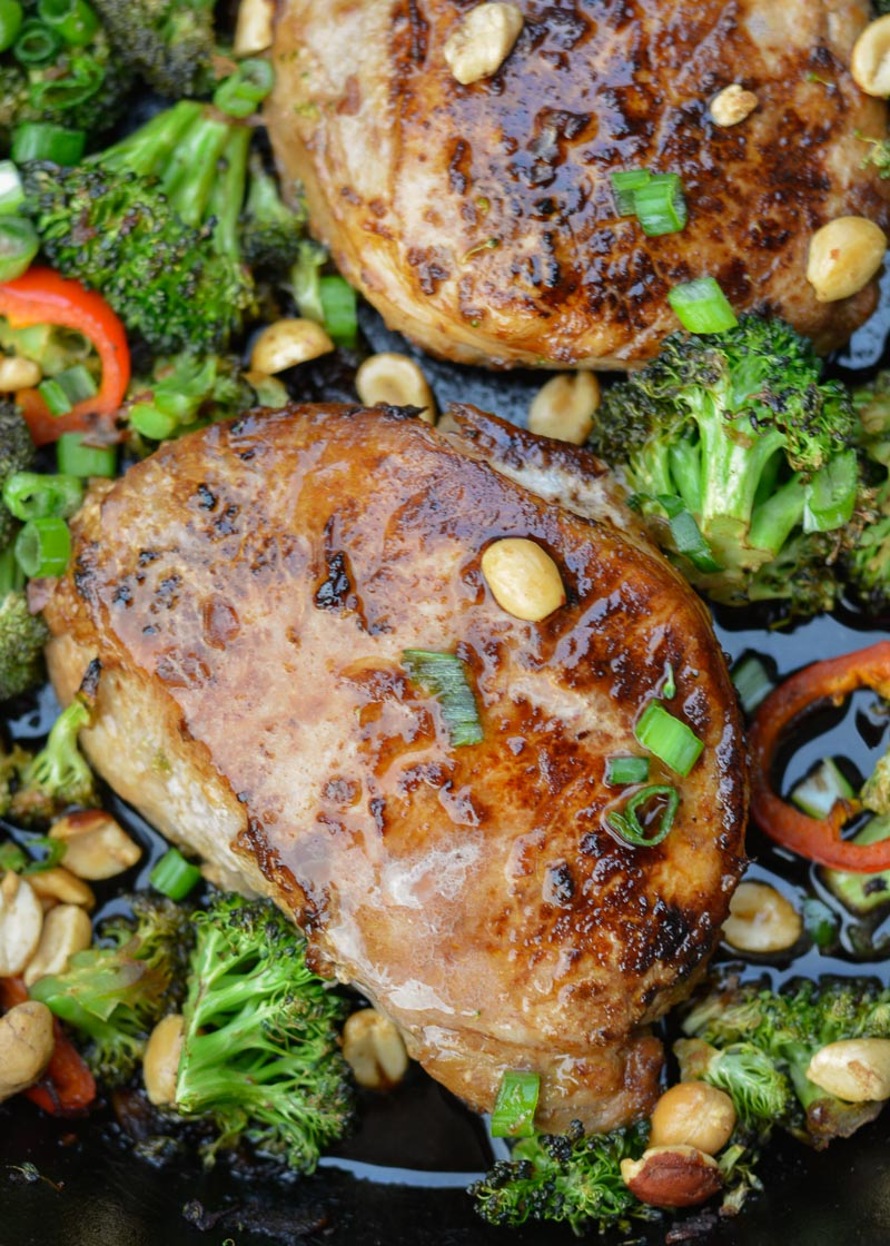 This one pan keto meal is a weeknight favorite! Asian Pork Chops with Sesame Broccoli is ready in 30 minutes and is the perfect mix of textures!