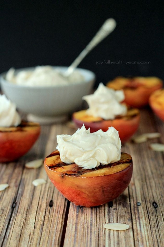 Grilled Peaches with Maple Honey Mascarpone Cheese from Joyful Healthy Eats
