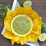 Roasted Tomatillo and Jalapeno Salsa, the easiest Salsa Verde ever! Just roast and toss in the blender!