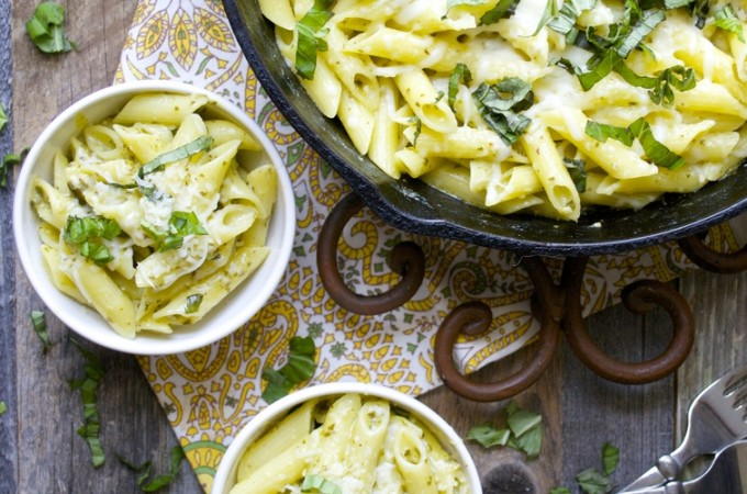 Creamy Pesto Penne! One Pan and only 10 minutes!! (gluten free)