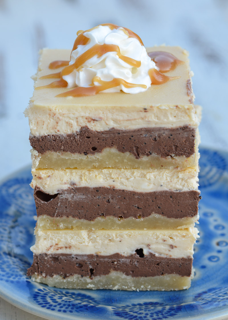 These decadent three layer Keto Caramel Mocha Cheesecake Bars are the perfect sweet treat! Each bar contains just 2.5 net carbs!