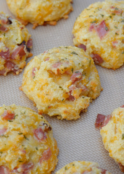 These giant soft and fluffy Keto Ham and Swiss Biscuits are the perfect grab and go breakfast recipe! Each biscuit has about 3 net carbs and is perfect with scrambled eggs!