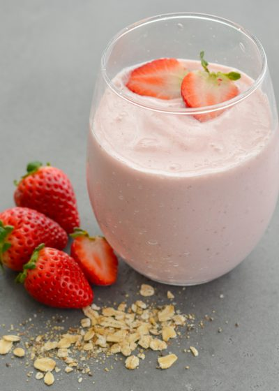 This Strawberry Oatmeal Smoothie comes together in less than 5 minutes and is packed with good-for-you ingredients! Perfect for a quick breakfast or morning snack!