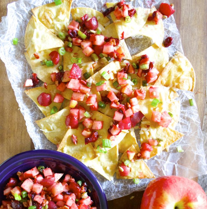 Apple Pico De Gallo is the perfect sweet and savory fruit salsa! Pair with White Cheddar Nachos for a beautiful snack!