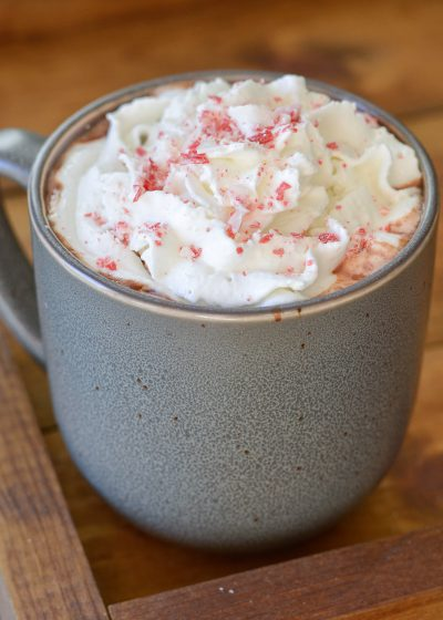 This Slow Cooker Peppermint Mocha Hot Cocoa features ultra rick hot chocolate spiked with peppermint extract and espresso!