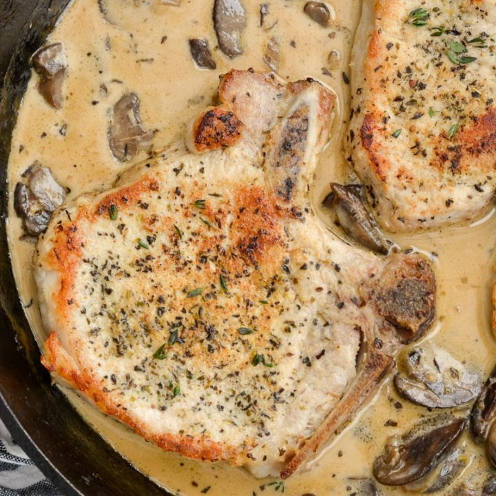 These One Pan Pork Chops with Cream Sauce are an easy, low carb recipe that is always a family favorite!
