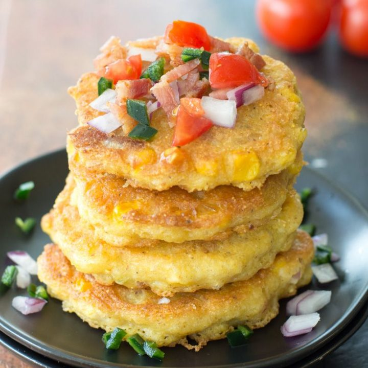 These Green Chile Corn Fritters are loaded with Tex Mex flavor and bacon! This is the perfect easy appetizer or gluten free dinner!