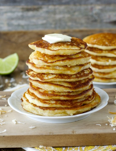 Pina Colada Pancakes! A fun tropical breakfast you will love! And totally gluten free!