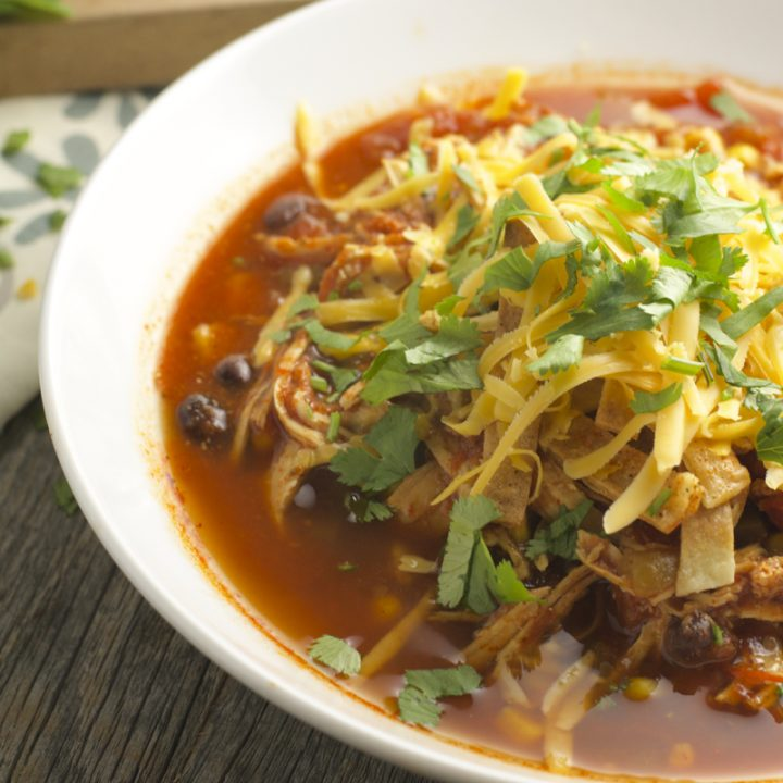 Slow Cooker Chicken Enchilada Soup, all the flavor of enchiladas in an easy healthy soup! #slowcooker www.maebells.com