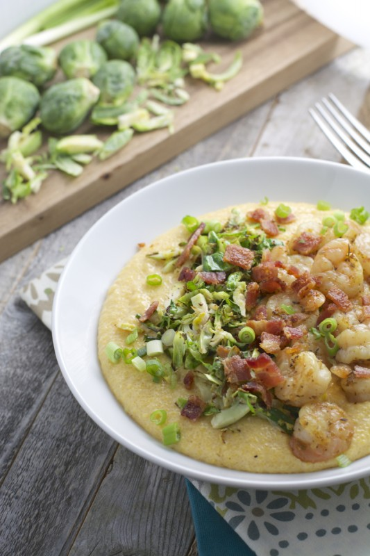 Gouda Grits with Shrimp and Crispy Sprouts, seriously the best grits ever!