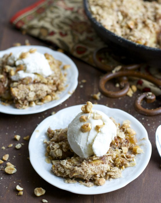 This Peanut Butter Honey Apple Crisp is perfect for two large portions or 4 small bowls!