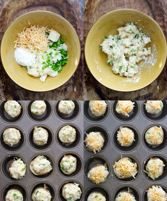 Tender potatoes are packed with chipotle gouda cheese, chopped jalapenos, butter, and sour cream for the ultimate side dish! These Gouda and Jalapeno Twice Baked Potatoes will be a new family favorite!