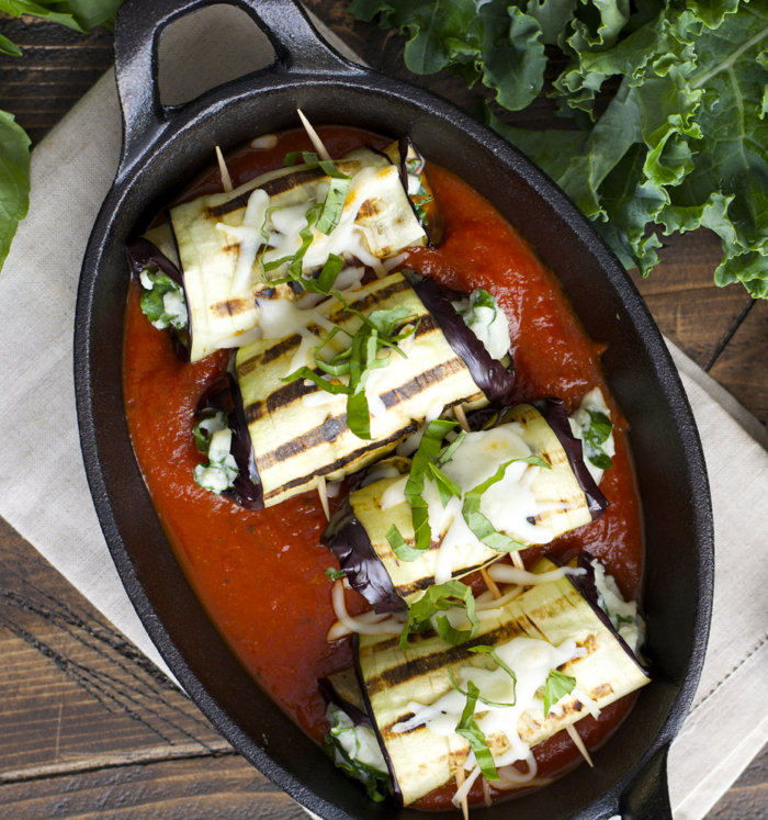 Roasted Garlic Ranch Eggplant Rolls with Kale