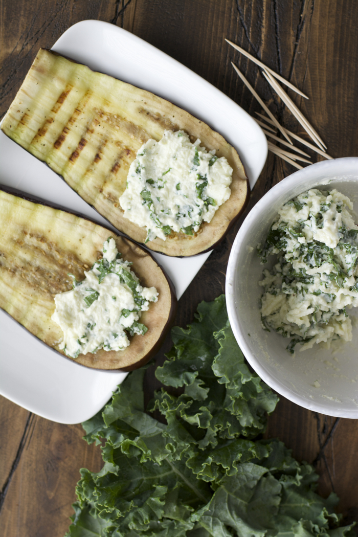 Roasted Garlic Ranch Eggplant Rolls with Kale #WhatsYourRanch #sponsored