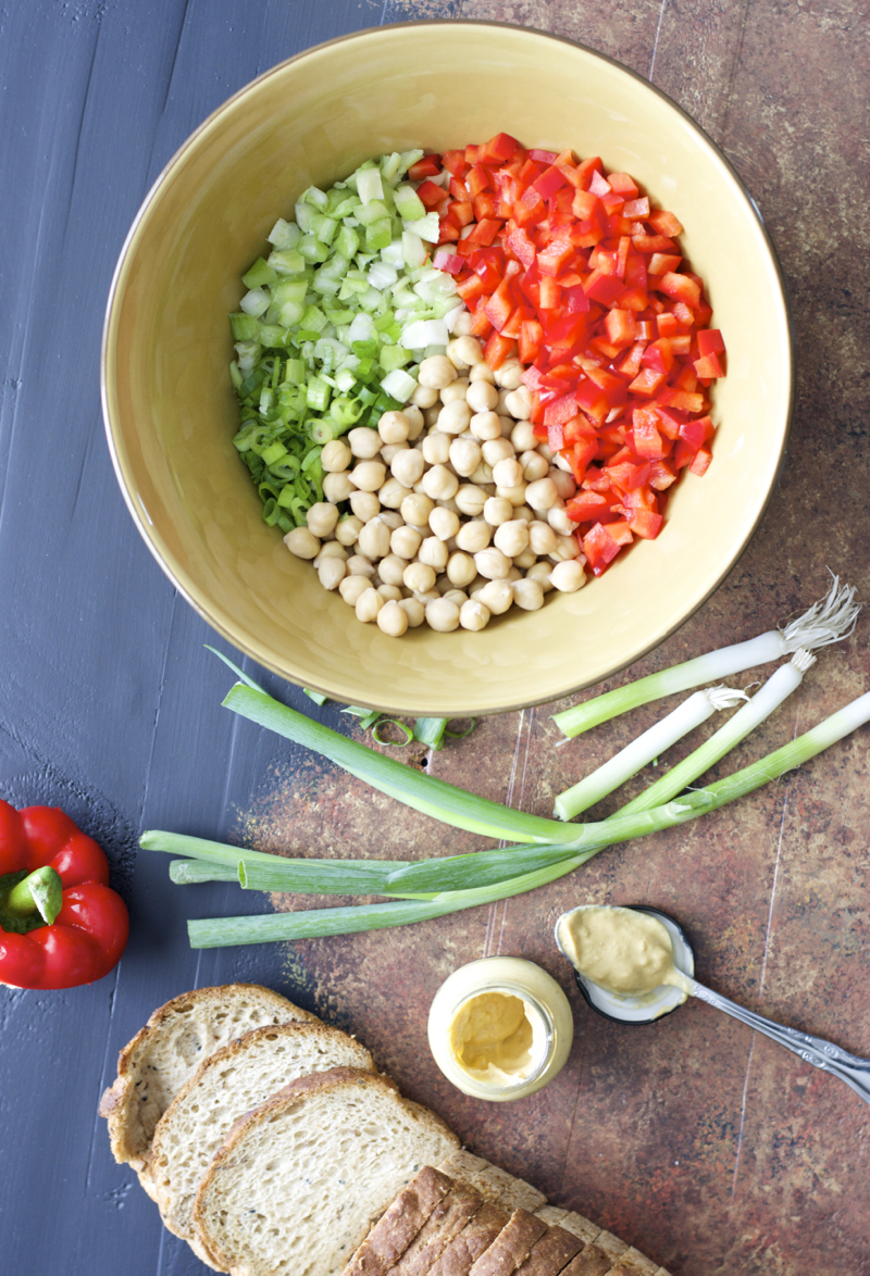Chickpeas are paired with crunchy celery, fresh bell pepper, chopped green onions in a spicy Dijon mustard sauce!