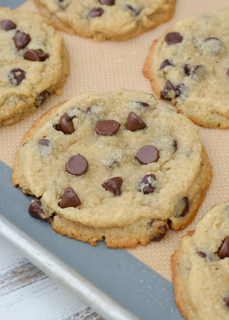 Try my favorite Bakery Style Keto Chocolate Chip Cookies that are perfectly crisp on the outside and gooey in the center! Each giant cookie contains about 4 net carbs!