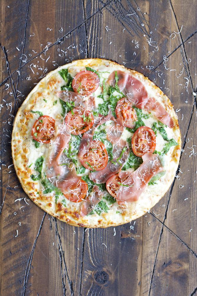 Grilled Veggie Pizza with Crispy Prosciutto...totally gluten free!