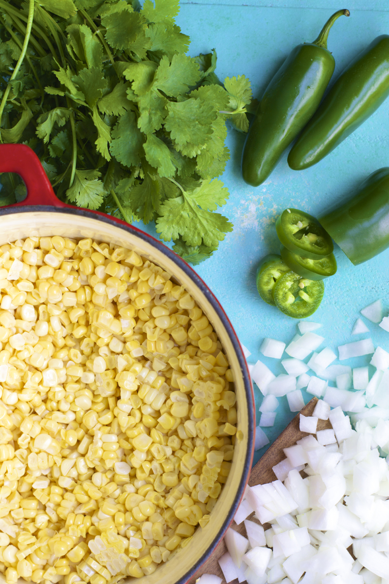 overhead view showing main corn chowder ingredients