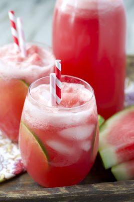 A close up watermelon limeade