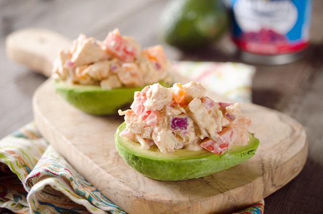 Chipotle Chicken Salad Stuffed Avocados