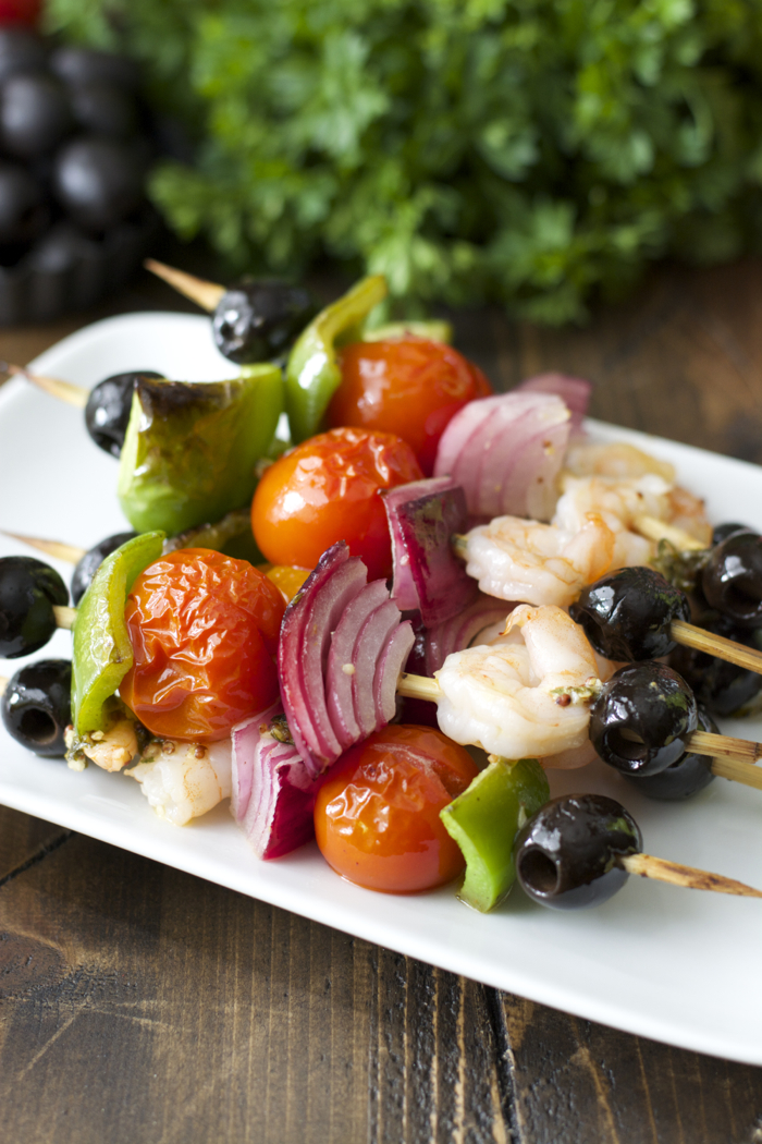 Mediterranean Shrimp Skewers! These healthy skewers come together in minutes!