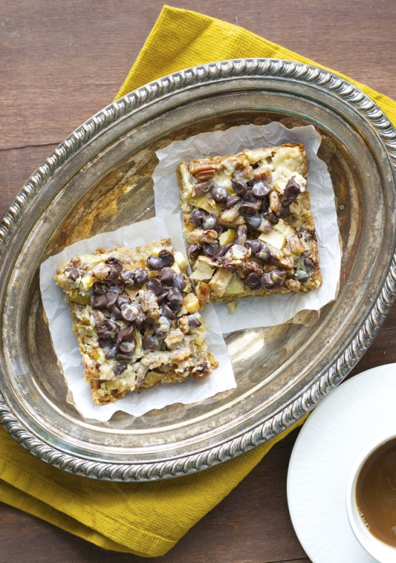 Magic Apple Bars! Chopped apples are piled high on the perfect pretzel crust and topped with rich dark chocolate and pecans.
