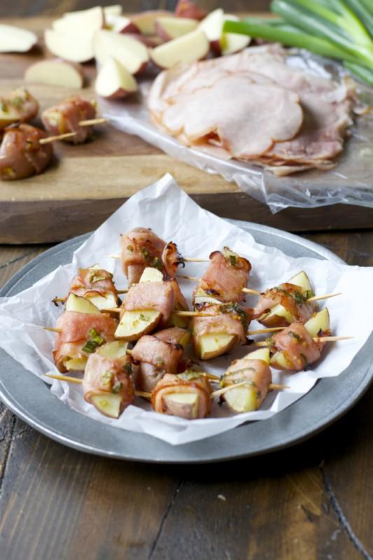 Ham Wrapped Roasted Potatoes with Smokey Honey Mustard Sauce